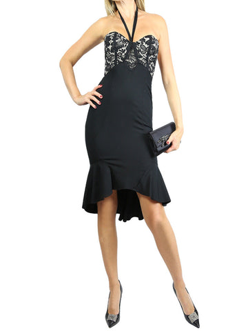 TEMPERLEY LONDON black silk lace halter dress. 2