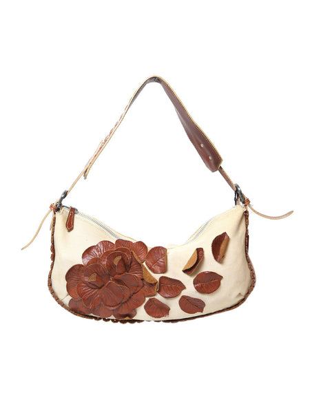VALENTINO fabric baguette shoulder bag with brown leather flowers