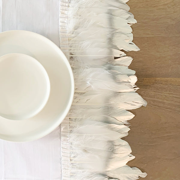 White Feather Dinner Napkin - Tea + Linen