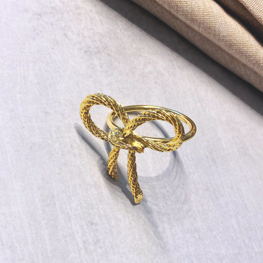 Gold Plated Bow Napkin Ring - Tea + Linen