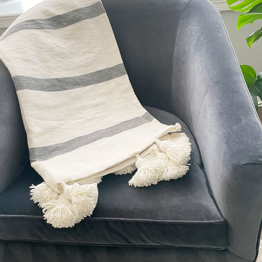 Gray Stripe Pom Pom Throw - Tea + Linen