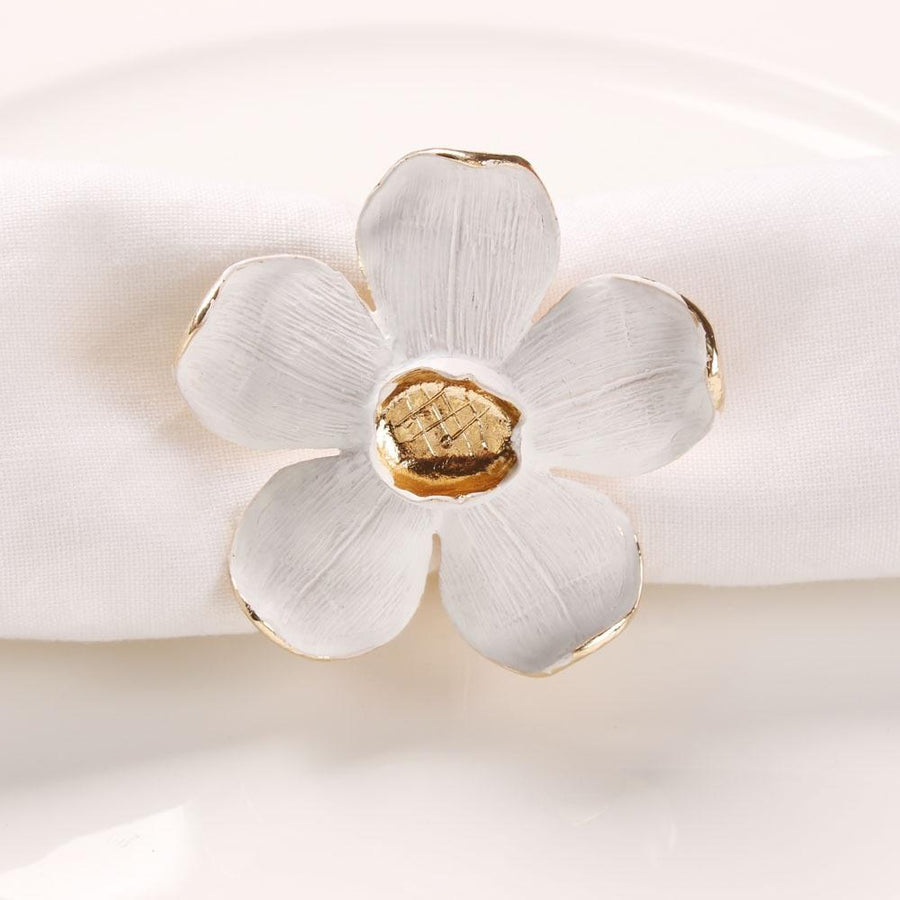 Isla Flower Napkin Ring - Set of 4 - Tea + Linen