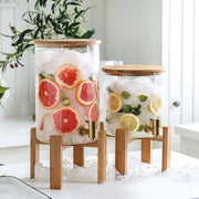 Large Glass Drink Dispenser with Stand - Tea + Linen