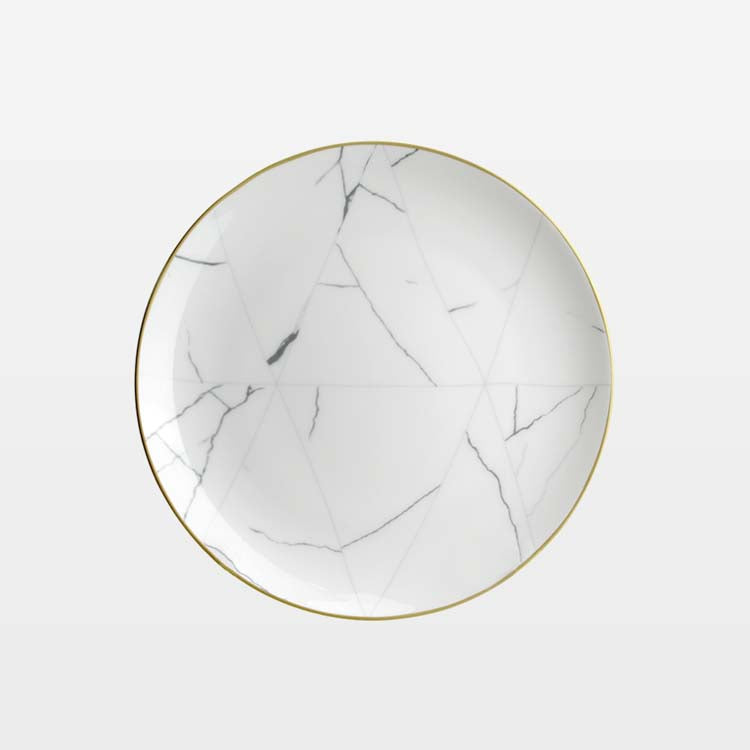 Marble & Gold Rim Dinnerware Set - Tea + Linen