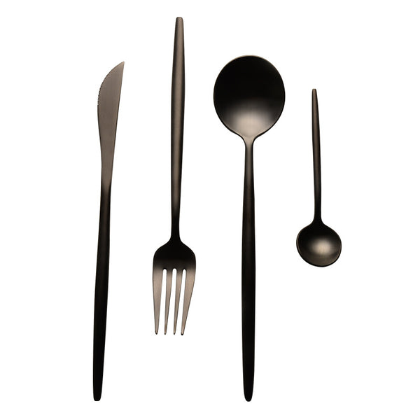 Matte Black Flatware - 4 piece set - Tea + Linen