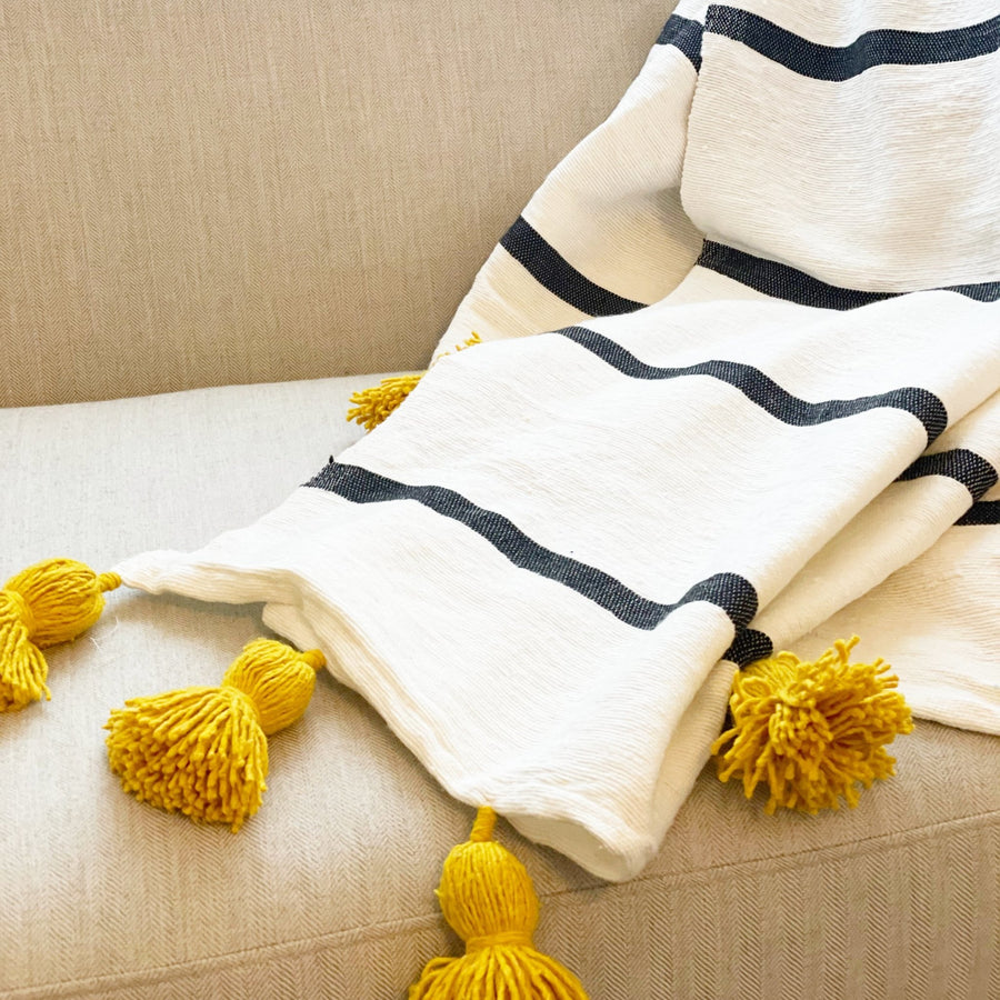 Striped Throw with Yellow Pom Poms - Tea + Linen