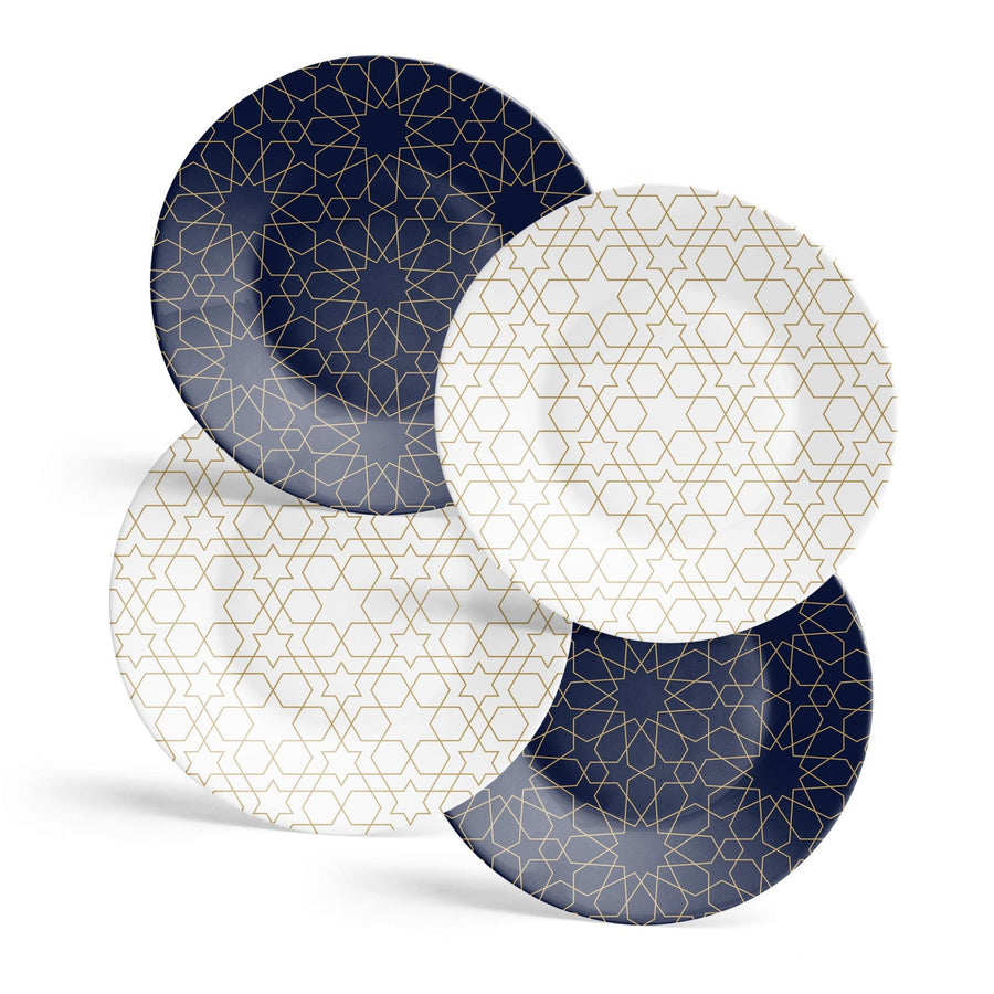 White and Gold Mosaic Appetizer Plates - Set of 4 - Tea + Linen