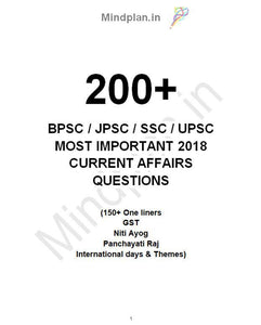 200+ MOST IMPORTANT 2018 CURRENT AFFAIRS QUESTIONS + COMMONWEALTH GAMES + INTERNATIONAL DAYS & THEMES + Many More [BPSC / JPSC / SSC / UPPSC]