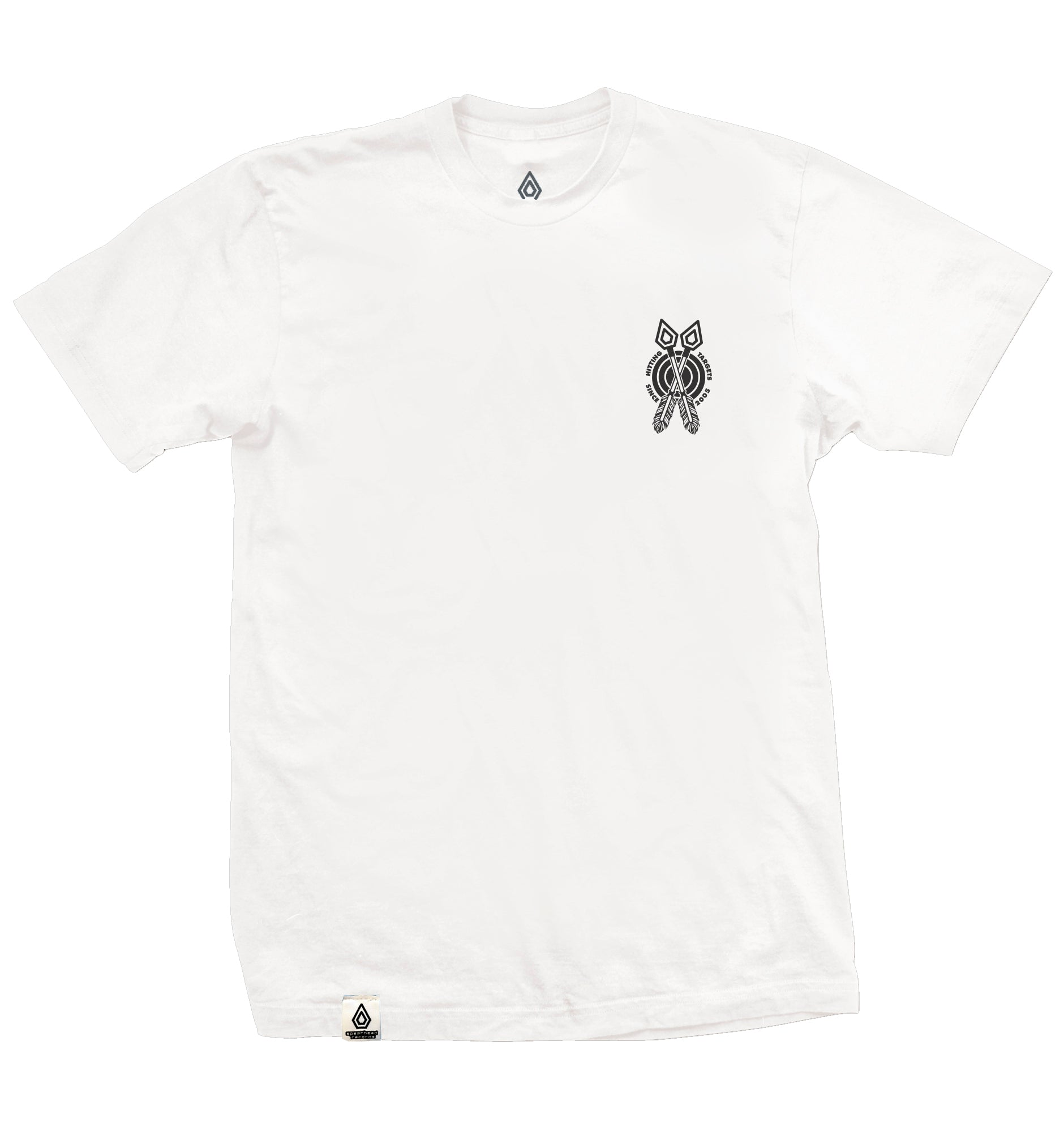 Spearhead 'Target' T-Shirt with back print - White with black print.