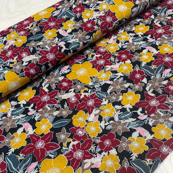 Red Yellow Flowers on Black Cotton Viscose