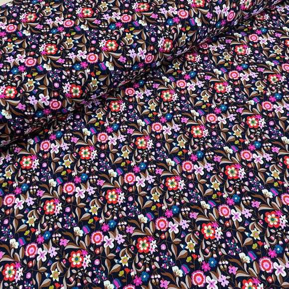 Ditsy floral print on Navy Needlecord / Corduroy