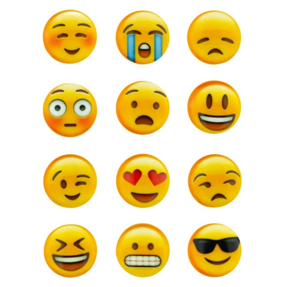 12 x Mixed emoji Buttons