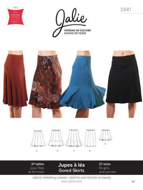 Knit gored skirt JALIE Girls and Women Sewing Pattern