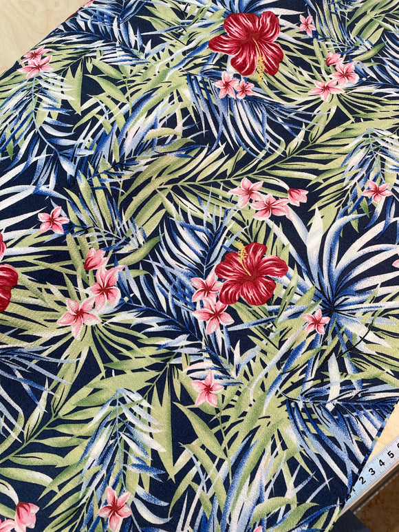 Tropical Flowers and Leaves Crepe De Chine
