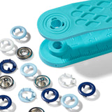 Snap fasteners jersey, Prym Love, 8mm, blue/light blue/white