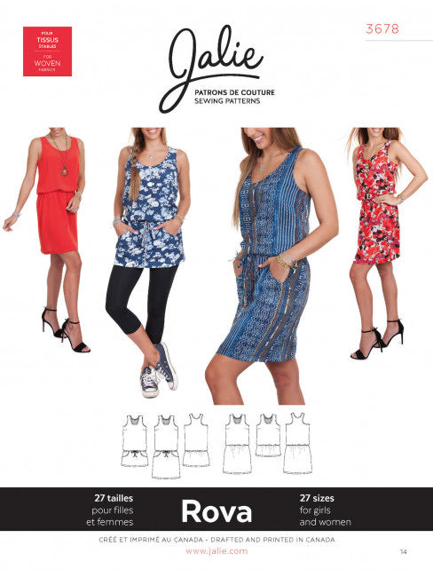 Rova Tank Dress JALIE Woman's and Girls Sewing Pattern