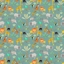 Load image into Gallery viewer, Wild Animals on Teal Jersey Fabric