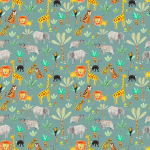 Wild Animals on Teal Jersey Fabric