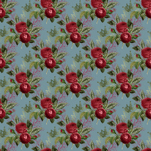 Roses on Navy double brushed Polyester