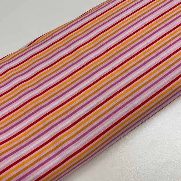 Thin Red/pink/yellow stripes 100% Cotton