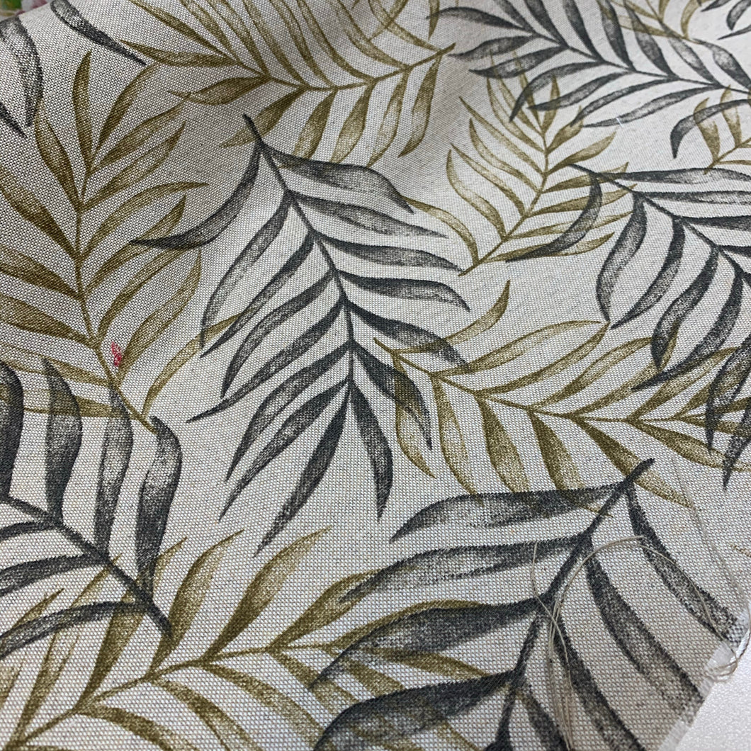 Linen Look Leaves Green Cotton Canvas