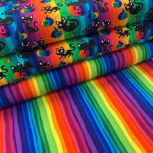 Load image into Gallery viewer, Pre Order Wiggly Rainbow Stripes cotton Jersey