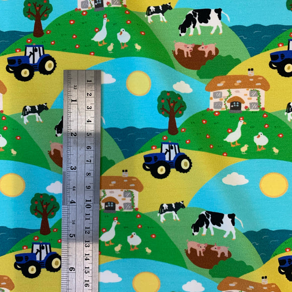Farm Scene Cotton JERSEY fabric