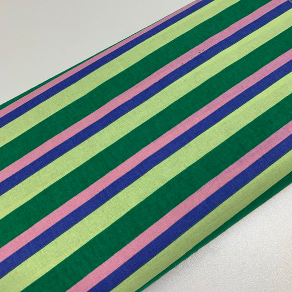 Green/pink/purple stripes 100% Cotton