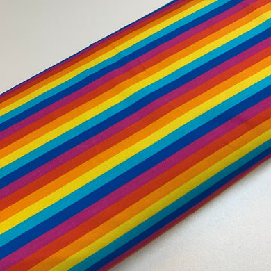 Bright Rainbow Stripes Thin 1cm Jersey