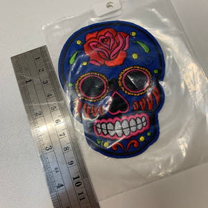 Blue Skull Head Appliqué