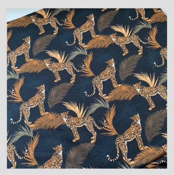 PRE ORDER cheetah on black with gold leaves FRENCH TERRY- DUE IN STOCK Mid February