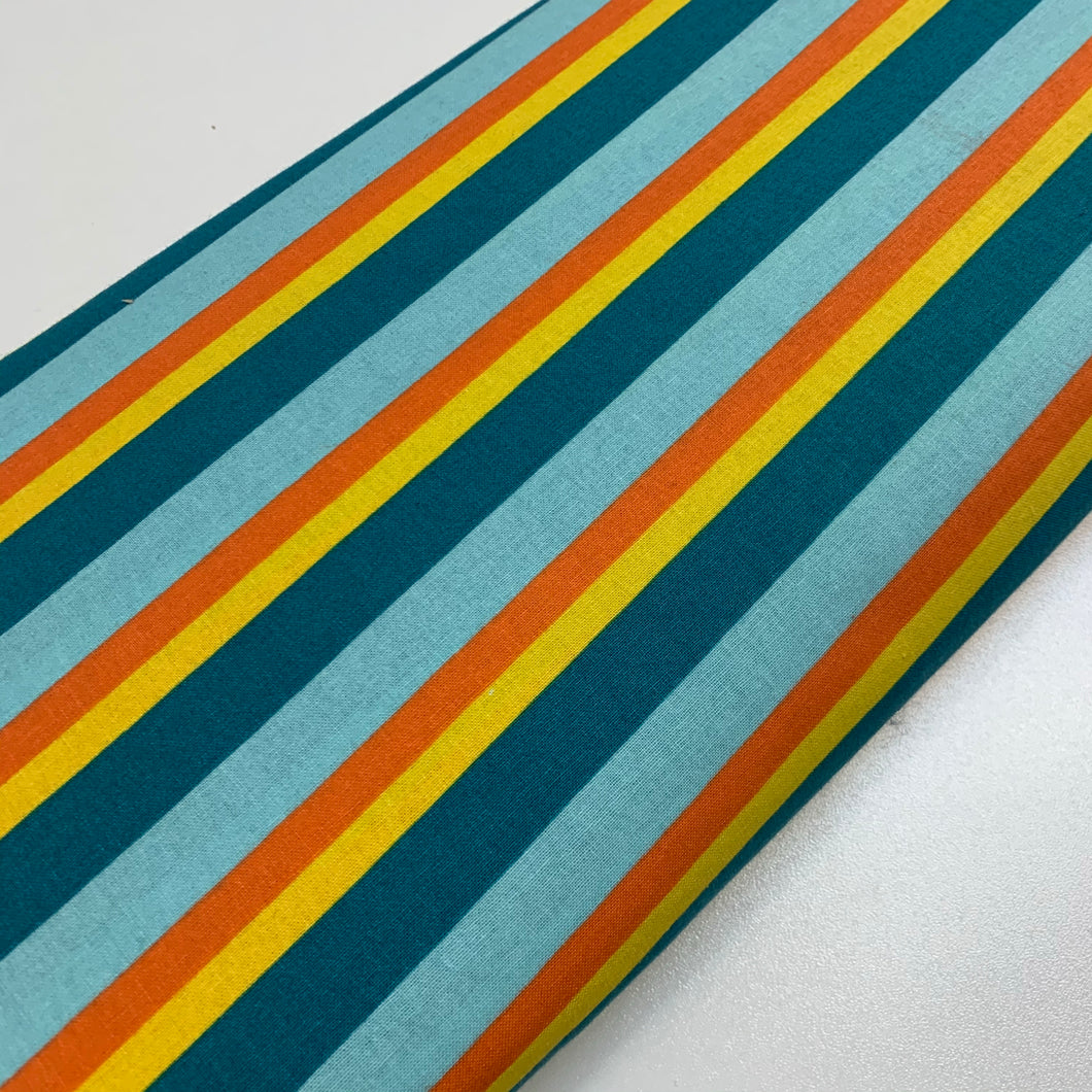 Blue/orange/yellow stripes 100% Cotton