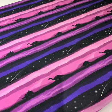 Midnight Dinosaur Sky Purple Cotton Jersey Fabric