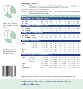 Cedar dolman Top Cashmerette Sewing Pattern