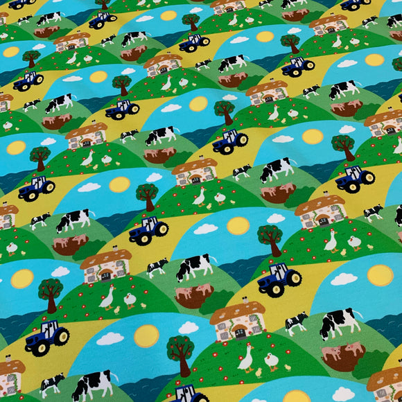 PRE ORDER Farm Scene Cotton JERSEY fabric- DUE IN STOCK W/C 10/05