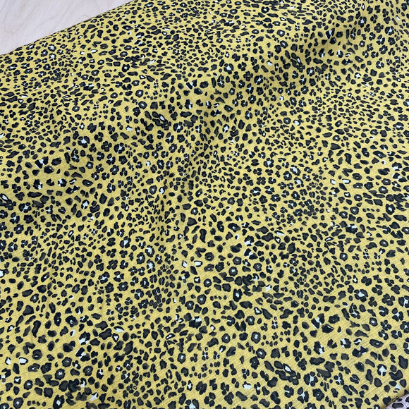 Leopard Yellow Viscose Crinkle