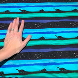 Midnight Dinosaur Sky Blue Cotton Jersey Fabric