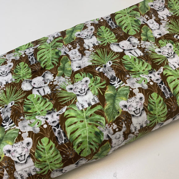 Jungle Animals Brown Cotton Muslin / Double Gauze