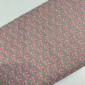 Small pink flowers on grey 100% Cotton