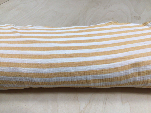 White and Ocre Stripe Muslin