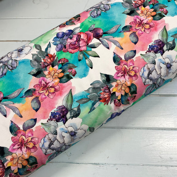 Watercolour floral French Terry