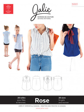 Rose Sleeveless Button Down Shirt JALIE Woman's and Girls Sewing Pattern
