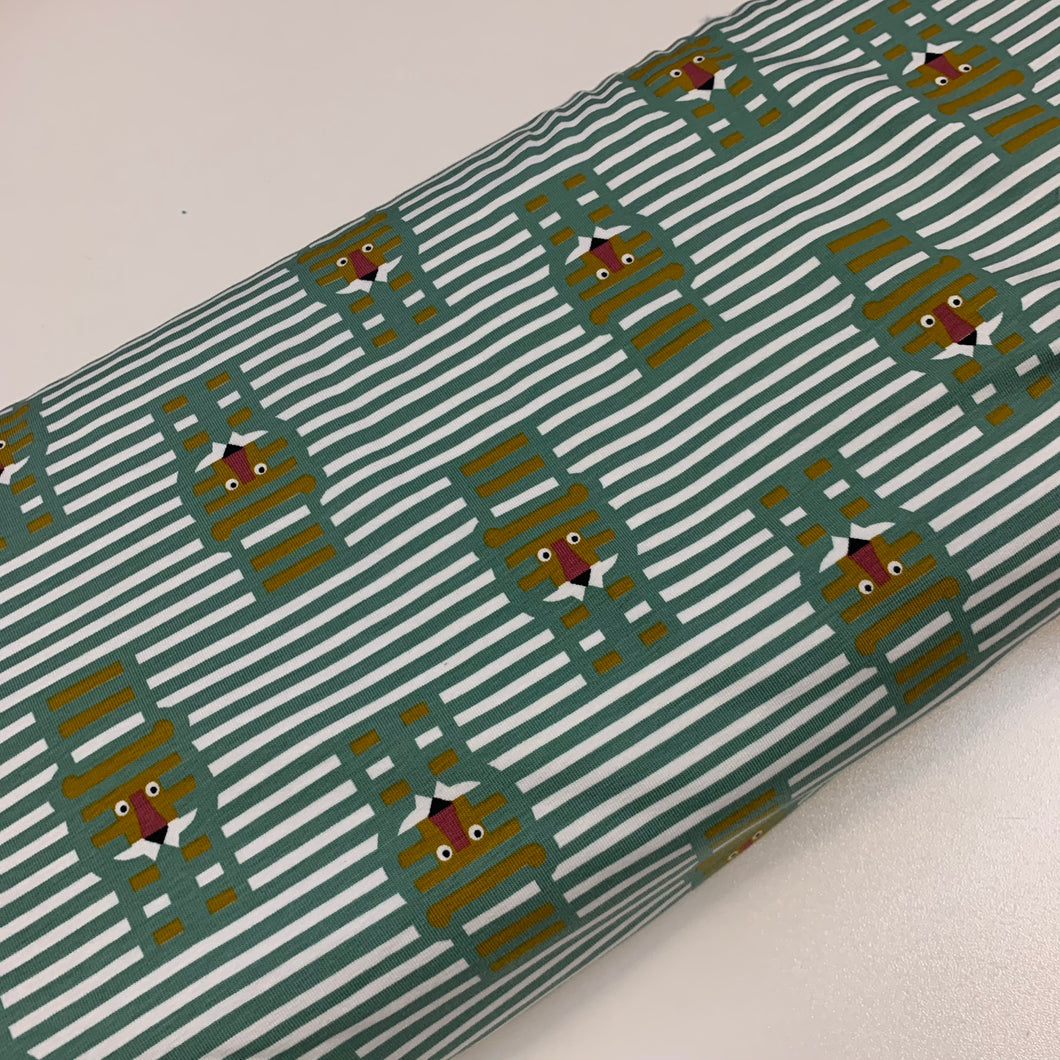 Lion stripes Green Cotton Jersey Fabric