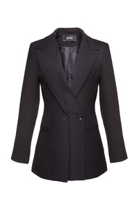 Charcoal Black Double-Lapel Blazer