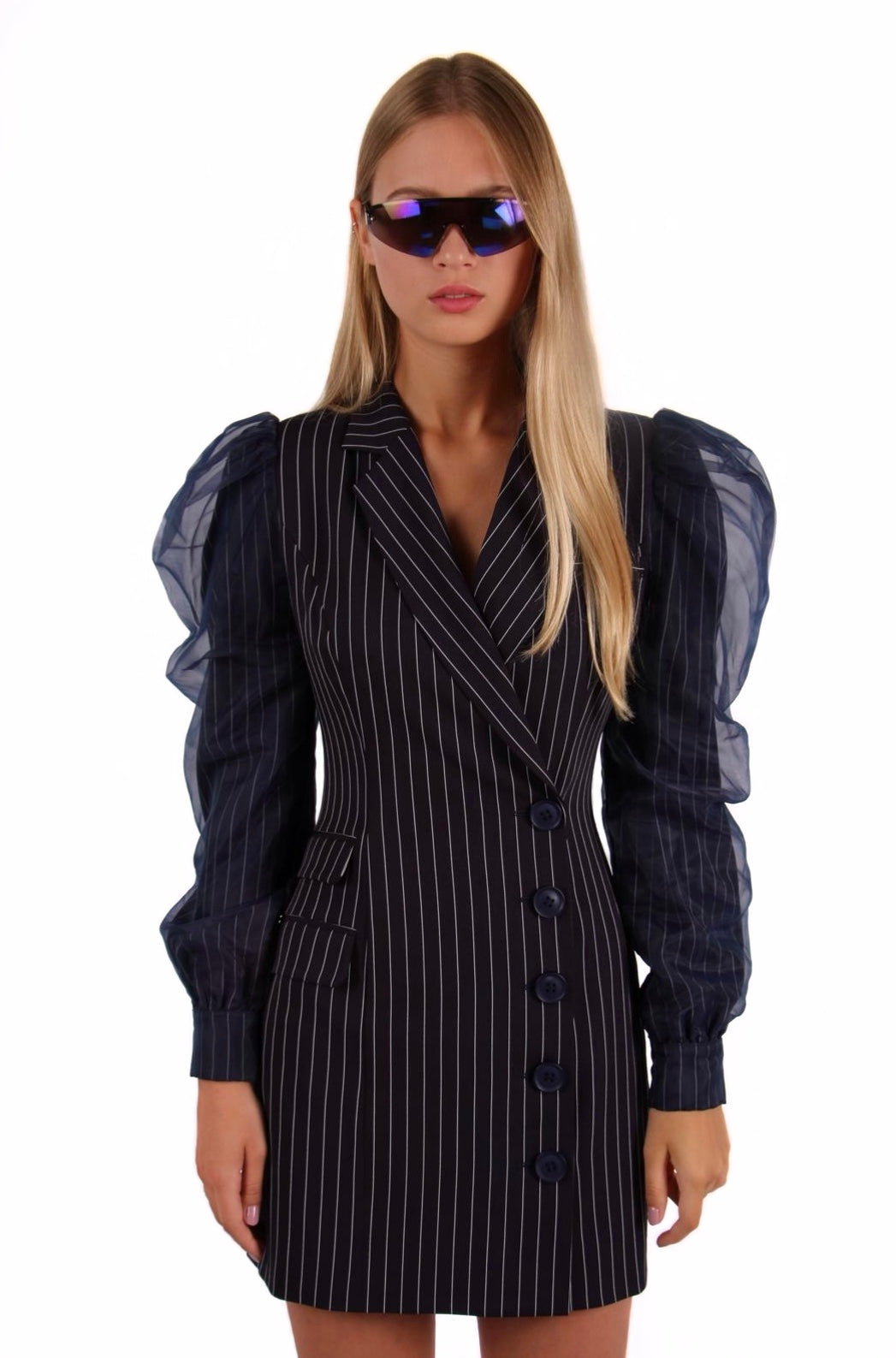 Load image into Gallery viewer, Pinstripe Navy Mesh Blazer