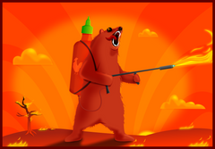 Sriracha Flamethrower Grizzly  - Print