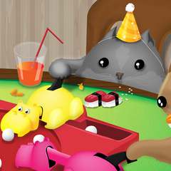 Cats Playing Hungry Hungry Hippos - Print