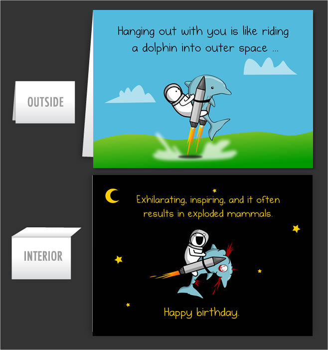 Dolphin Space Greeting Card 16 The Oatmeal
