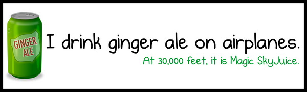I Drink Ginger Ale on Airplanes - Bumper Sticker