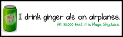 I drink ginger ale on airplanes bumper sticker